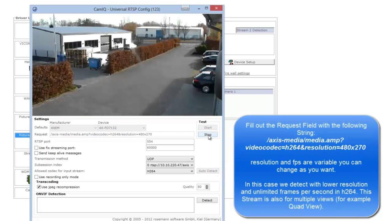 CamIQ V4: Adding a Camera using the RTSP Driver Video Tutorial (english) by  VTIS GmbH
