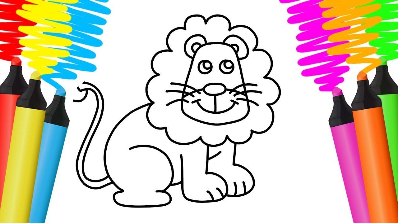 Como Desenhar E Colorir Leao Floresta E Xicara Pintar E