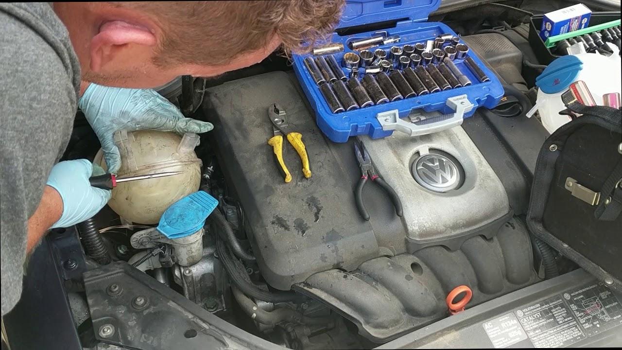 Install Replace Radiator Coolant Bottle 2006 Vw Volkswagen Jetta Engine