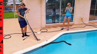 12 FOOT MONSTER Stuck in MY POOL!