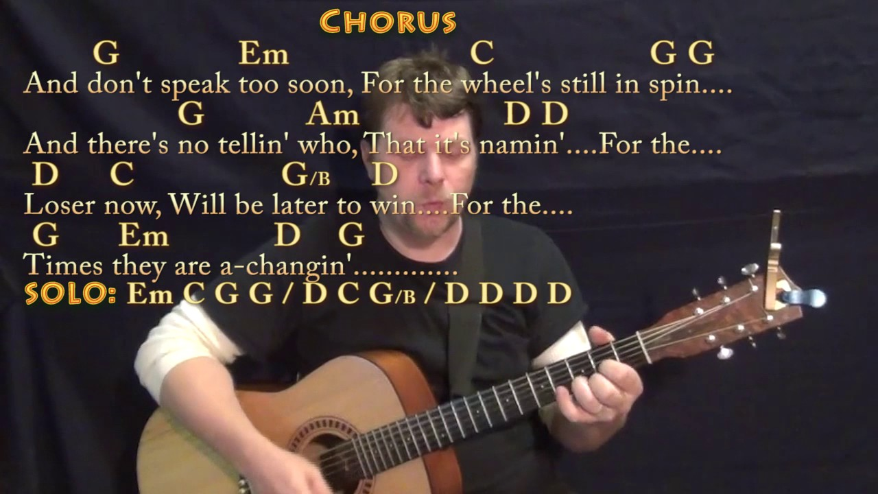 The Times They Are A Changin' Bob Dylan Guitar Cover Lesson with  Chords/Lyrics