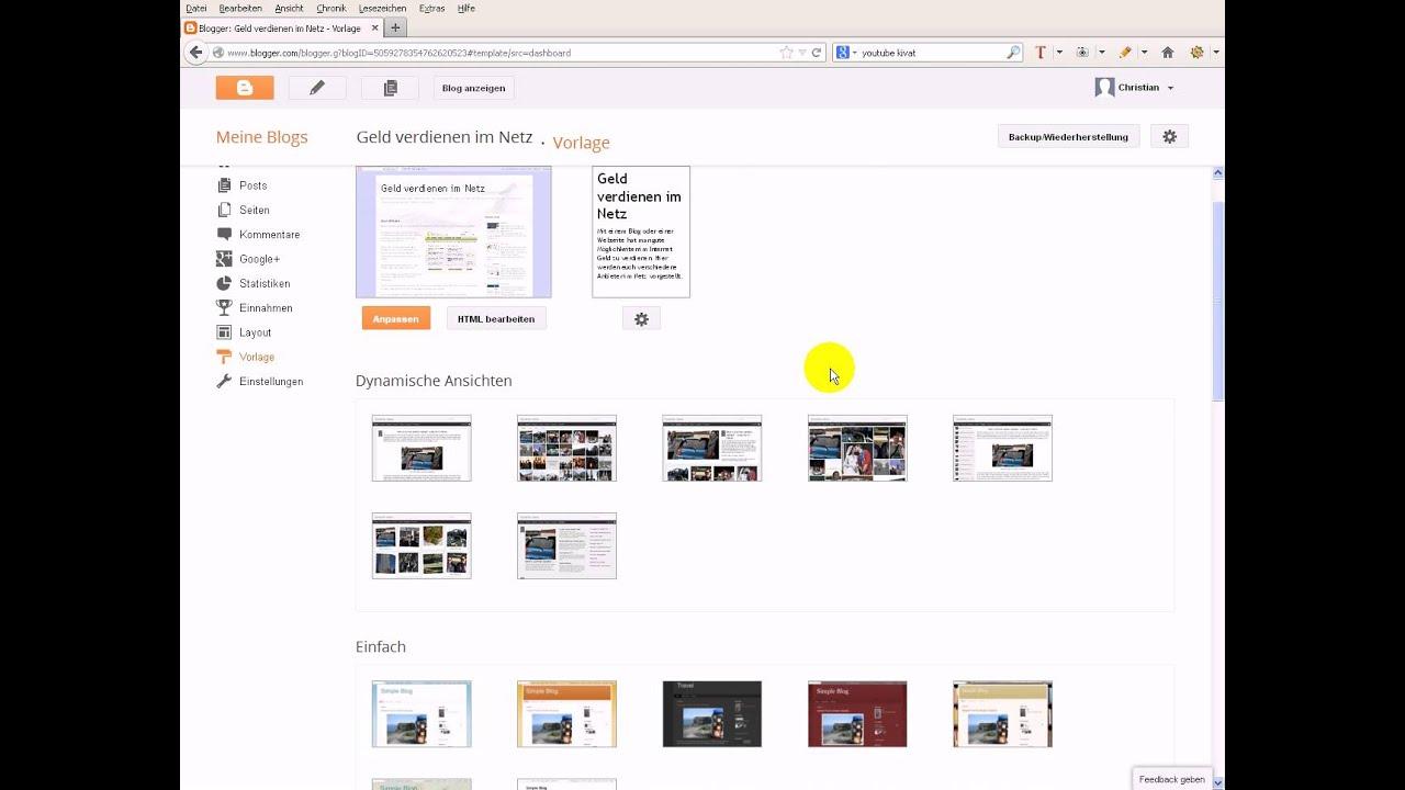 Blogger Template installieren / hochladen - Anleitung - YouTube