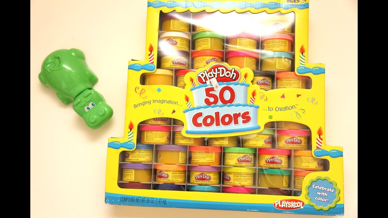 Play Doh Birthday 50 Colors Collection Hungry Hungry Hippos Youtube