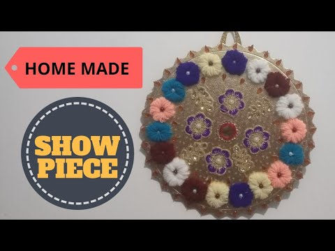 Wall Hanging showpiece from scratch   cake stand   Woolen thread   DIY Craft  India