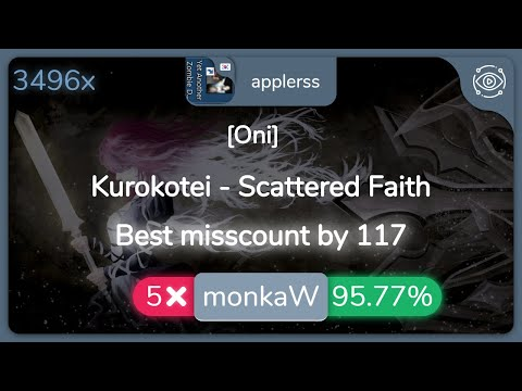 [9.35⭐taiko]-applerss-|-kurokotei---scattered-faith-[oni]-3496/3935x-96.80%-{#1-5❌-532pp}---osu!