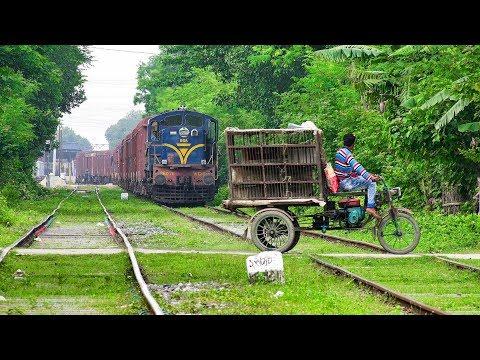 Indian Freight Train Leaving Darshana International Railway Station Towards India- Indian Railways