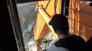 Side Hoe for a 16 meter deep trench | Hitachi EX1200