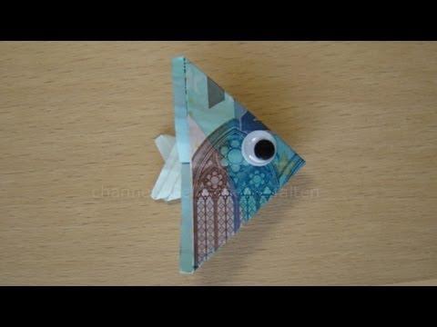 Geldscheine falten Fisch  YouTube