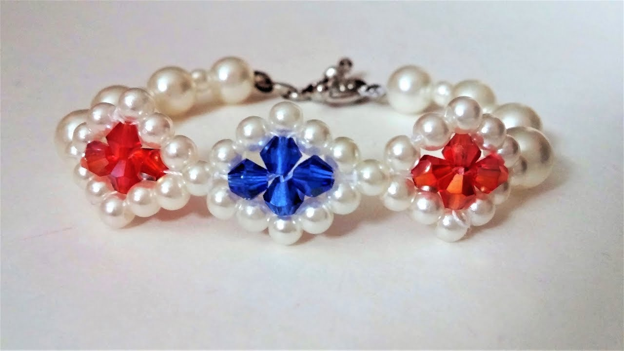 How To Make A Beautiful Bracelet With Pearl Beads And Bicone