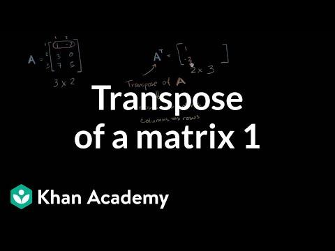 Transpose of a matrix | Matrices | Precalculus | Khan Academy