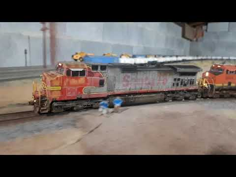 BNSF - Ex ATSF With Mixed Freight Departing, ScaleTrains C44-9W - ET44C4