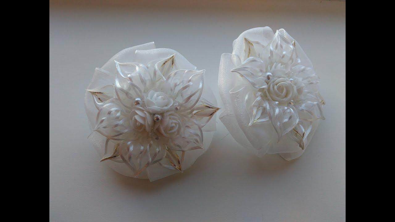 белые банты канзаши
