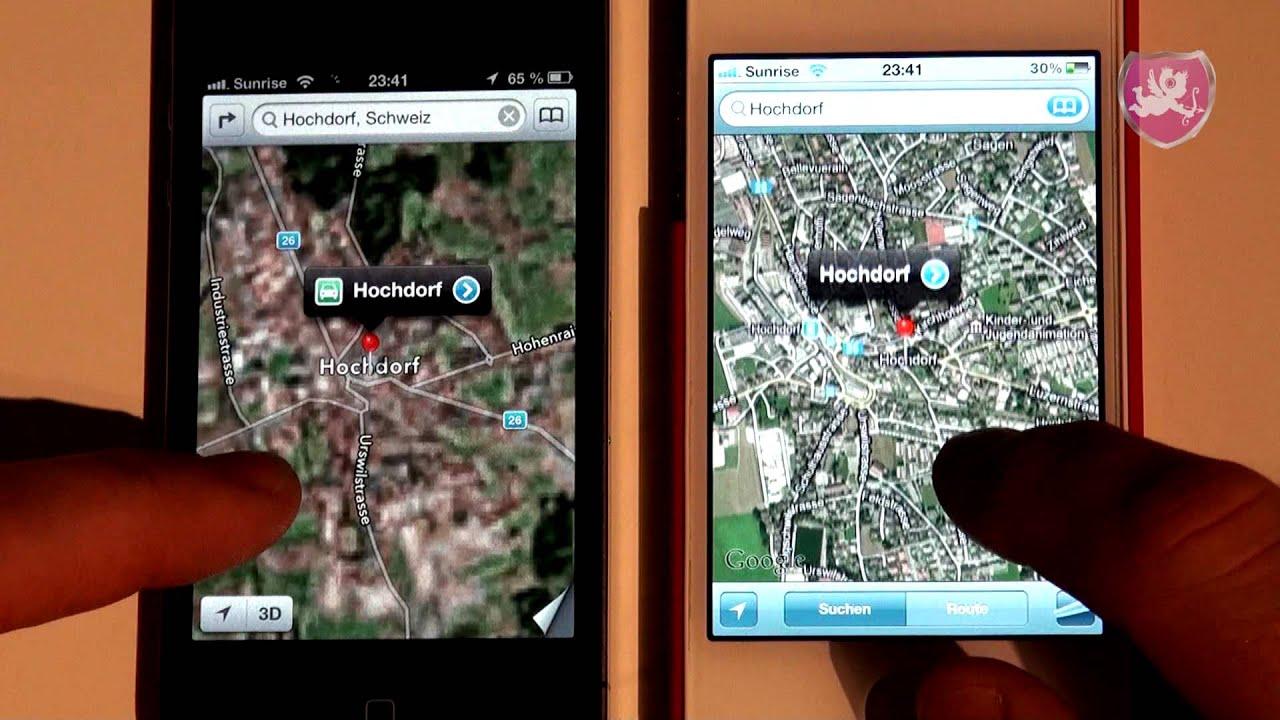 IOS 6 Apple Maps vs IOS 5 Google Maps - YouTube  Google Maps on