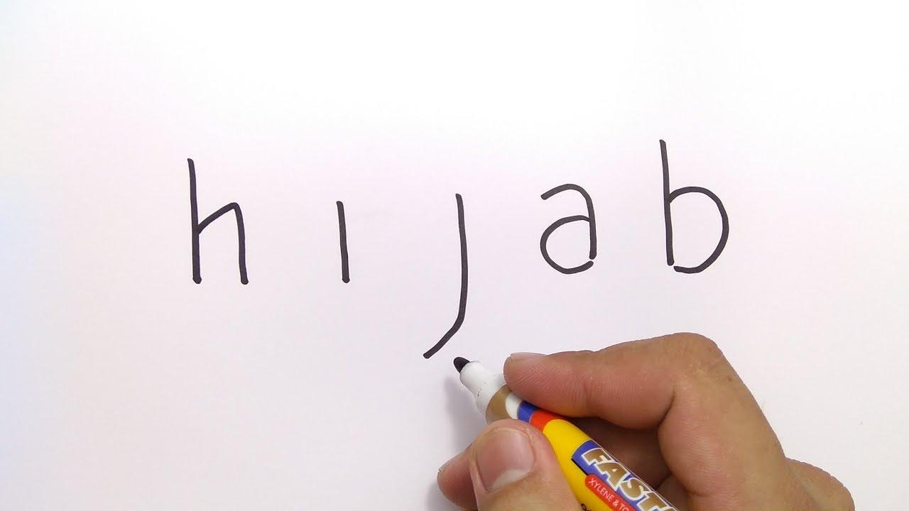 INDAH Cara Menggambar Kata HIJAB Menjadi Gambar WANITA BERJILBAB