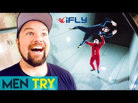Men Try Indoor Skydiving - iFly Indoor Skydiving Tricks!