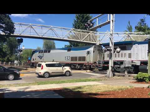 Amtrack passenger train pulling out of station at Salem Oregon