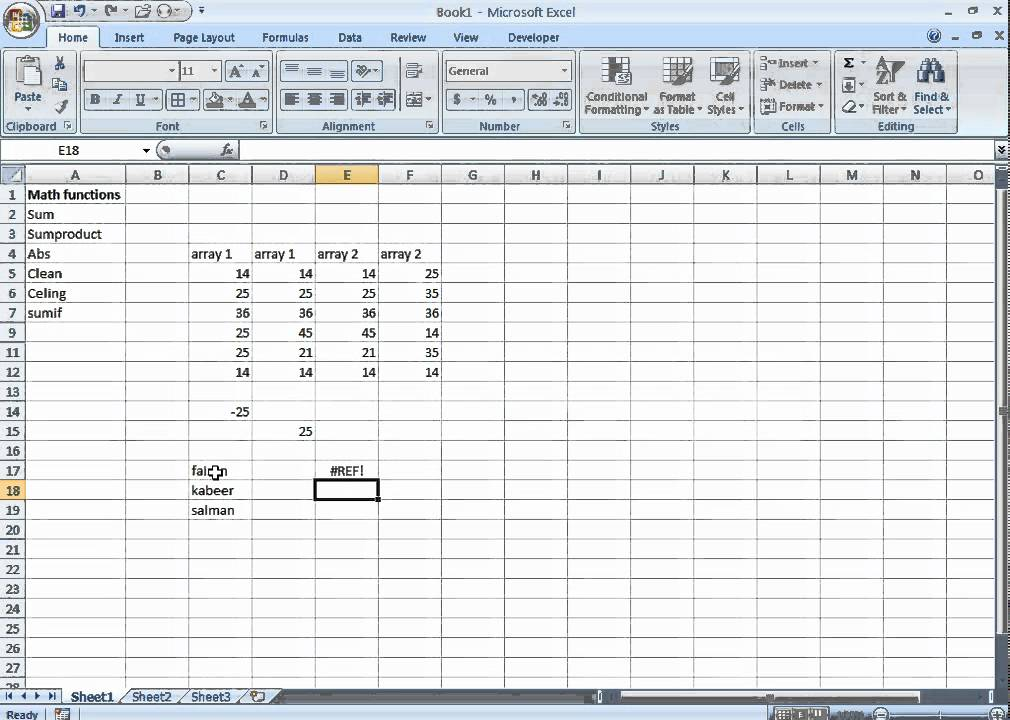 Excel, ABS,Clean,CEILING Functions