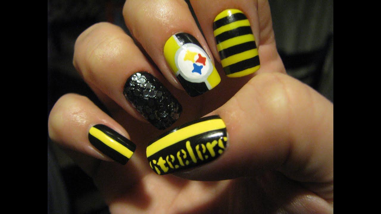 Pittsburgh steelers nail art tutorial youtube prinsesfo Choice Image