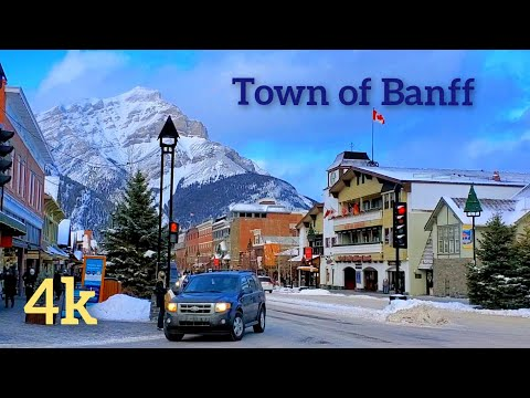 Town Of Banff 2021- Banff National Park, Alberta, Canada. Walking tour 4K.