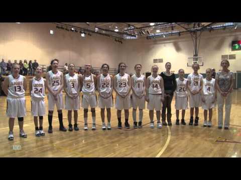 Shining Mountain Waldorf School Girls Basketball team singing the National Anthem:  02/04/11
