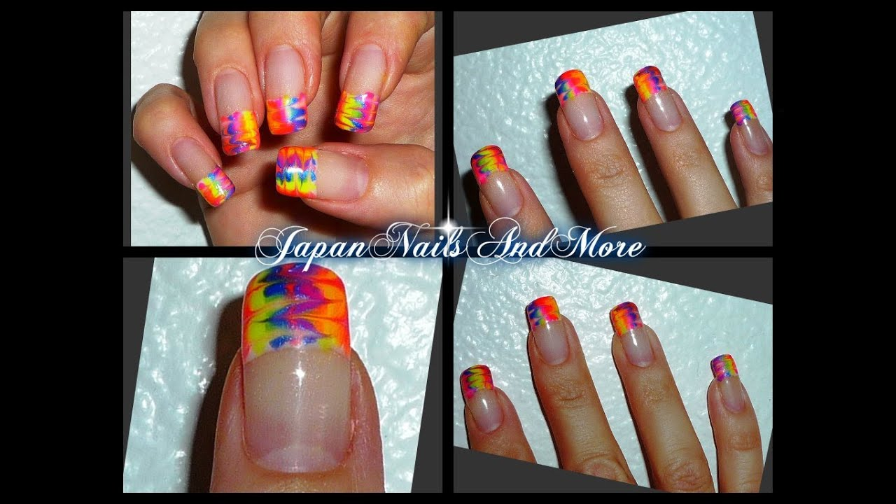 Rainbow gel nail art design youtube prinsesfo Image collections
