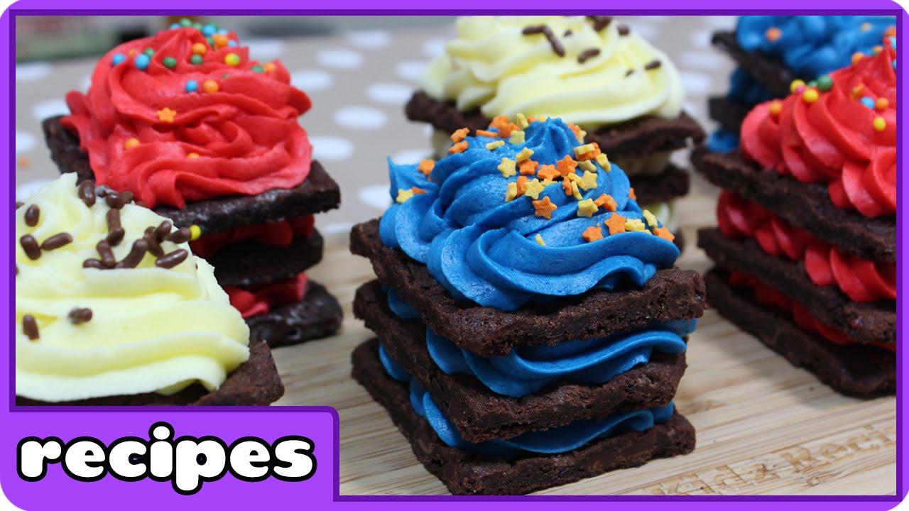 Rainbow Brownie Brittle Birthday Cake Icebox Cupcakes Recipe Diy