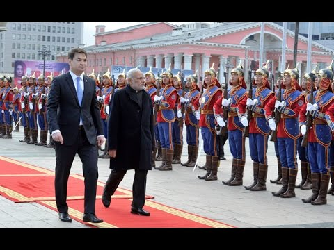 PM Modi at the Ceremonial welcome in Mongolia