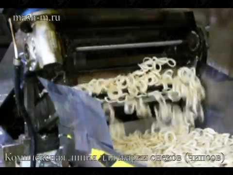 Линия жарки снеков (чипсов, луковых колец)из пеллет