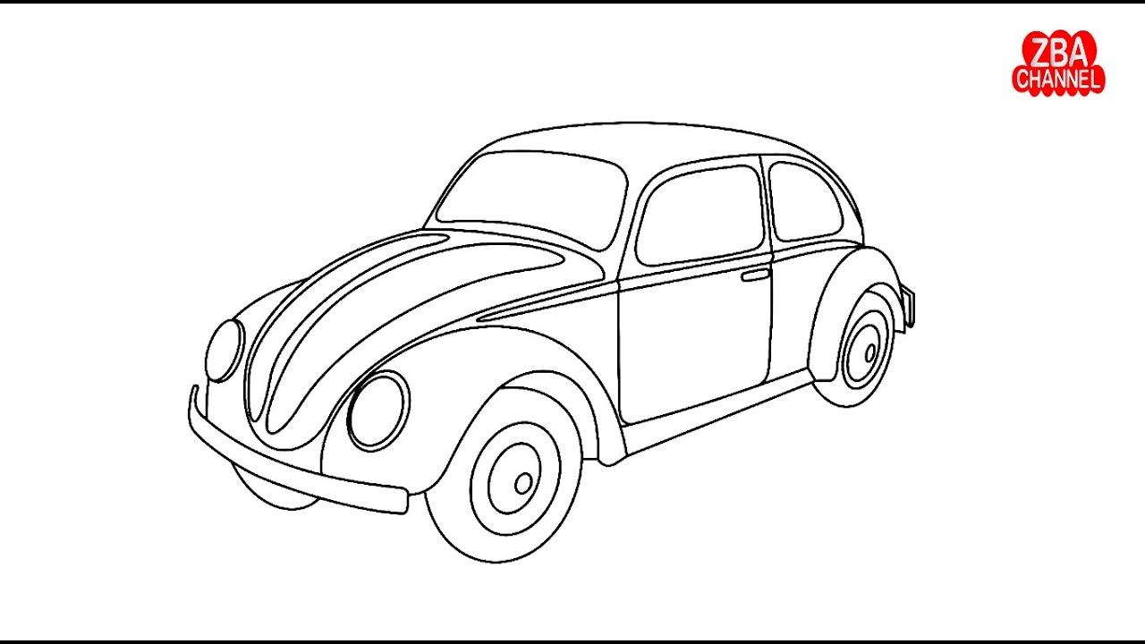 Cara Menggambar Dan Mewarnai Mobil Vw Kodok Youtube