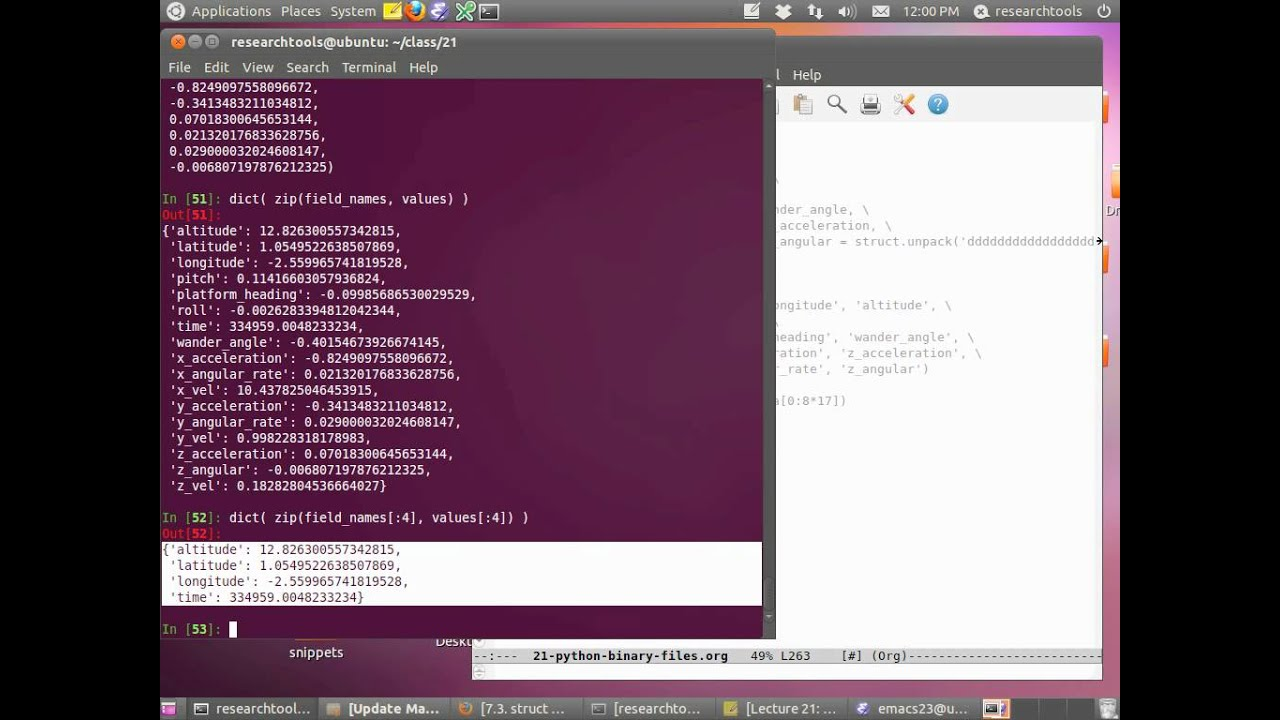 RT 2011: Lecture 21 - Parsing python binary files - Part 1 of 4