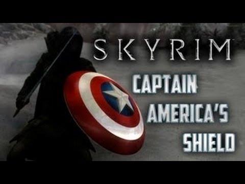 skyrim thors hammer captain america s shield mods hd youtube