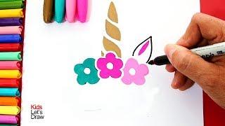 Bonito Unicornio decorativo para dibujar y pintar DIY fácil | KidsLetsDraw