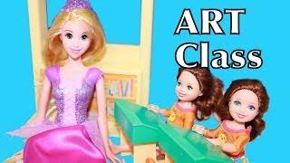 RAPUNZEL Teaches ART CLASS Disney FROZEN Anna FAMILY Barbie School AllToyCollector