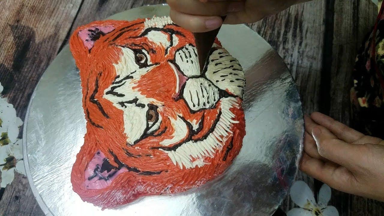 Bánh Sinh Nhật Tạo Hình Mặt Hổ 3D – How To Decorate Tiger Face 3D Cake
