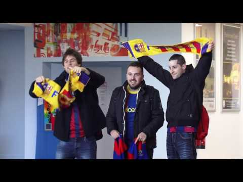 Barcelona Fans Arrive at Glasgow Prestwick Airport
