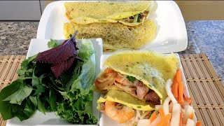 Cooking Sizzling Crepes Banh Xeo-Vietnamese Food Recipes