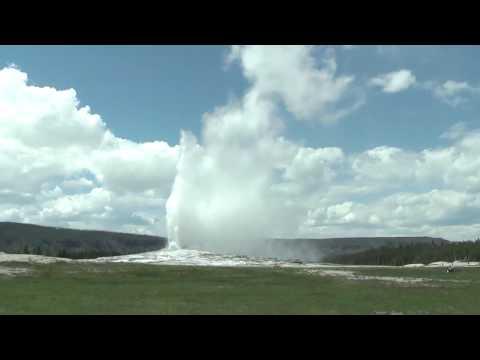 2. Old Faithful geyser erupting in Yellowstone National Park, Wyoming
