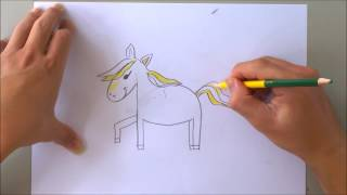 How to draw horse with letter h | The alphabet song