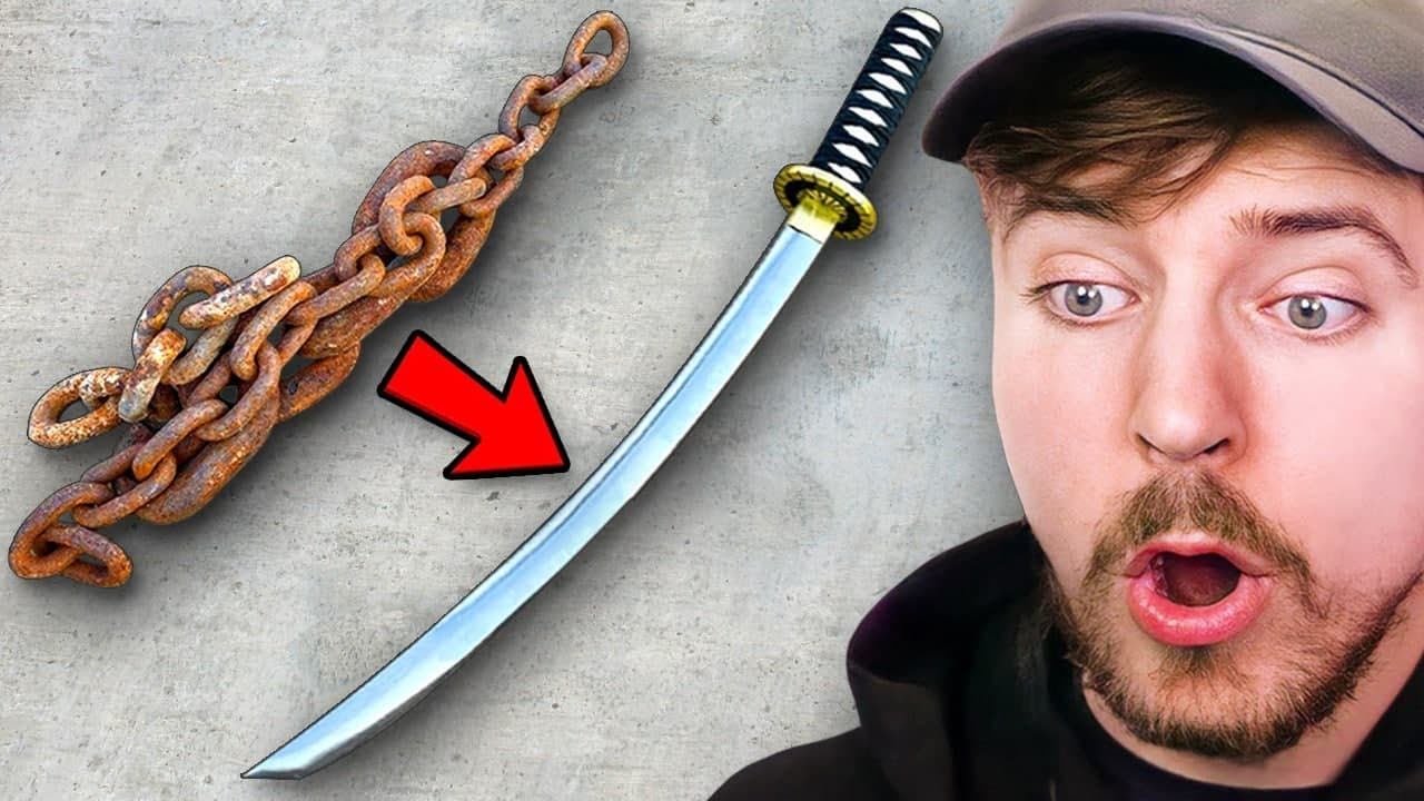 Forging A Katana From Rusted Chain!