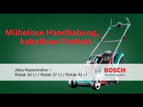 bosch stellt vor akku rasenm her rotak 34 li rotak 37 li und rotak 43 li youtube. Black Bedroom Furniture Sets. Home Design Ideas