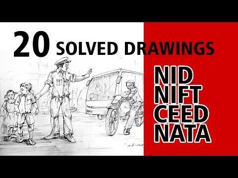 20 MEMORY DRAWINGS FOR NID/NIFT/CEED/NATA Examination