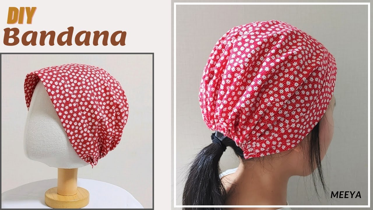 DIY Bandana|쓰기 편한 끈 없는 두건 만들기|strapless|쉬운|easy|Pattern included|반다나|패턴포함|Hair scarf|헤어스카프|머리수건|バンダナ