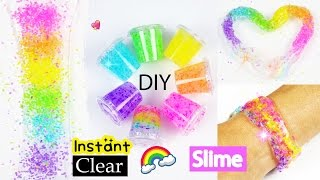 How to Make Instant Clear Slime/Best DIY Rainbow Slime recipe without Coloring