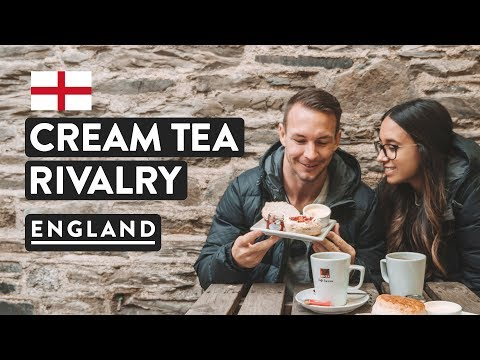 TRYING ENGLISH CREAM TEA! Devonshire or Cornish way? | Engla