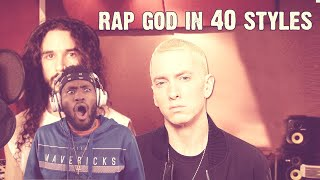 THIS IS ON ANOTHER LEVEL!!!! Eminem  Rap God | Performed In 40 Styles | Ten Second Songs (Reaction)