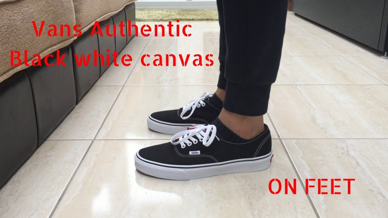 6a82d485ab1 Vans Authentic Black White Canvas - Quick ON Feet - YouTube