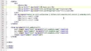 AngularJS Tutorial - sortable columns - move code in controller