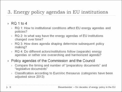 Six decades of energy policy in the EU