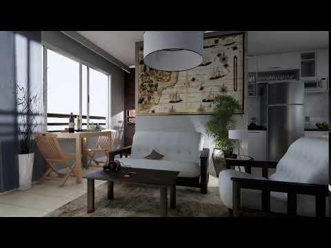 Terra Brasilis: Sala integrada com espaço gourmet