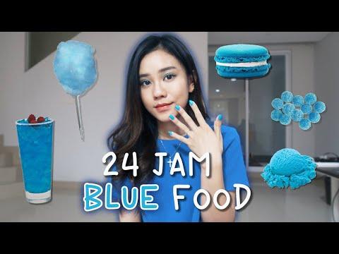 24 Jam Makan Yang Warna Biru Doang Youtube
